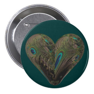 heart of peacock feathers button