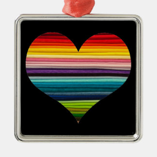 Heart of Rainbow Colored Stripes Decoration Metal Ornament