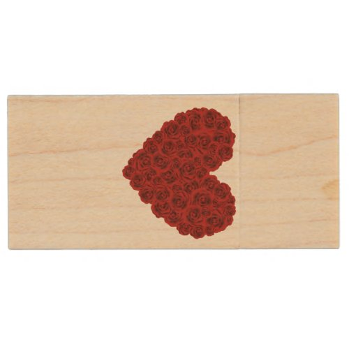 Heart of roses wood flash drive
