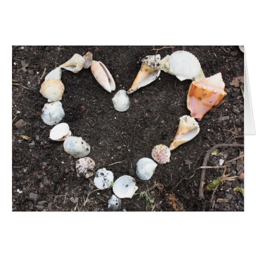 heart of sea shells card