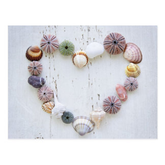 Heart of seashells and rocks postcard