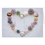 Heart of seashells and rocks stationery note card