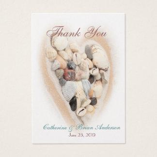 Heart of Seashells Beach Wedding Photo Thank You Business Card