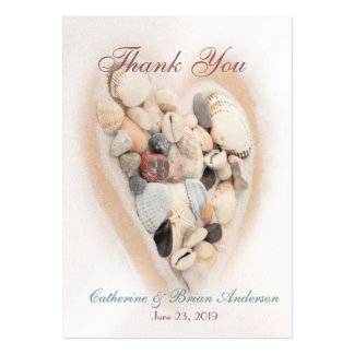 Heart of Seashells Beach Wedding Photo Thank You Large Business Cards (Pack Of 100)