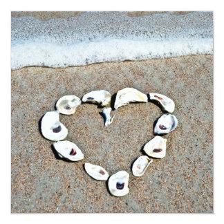 Heart of Seashells on the Beach Bridal Shower Card