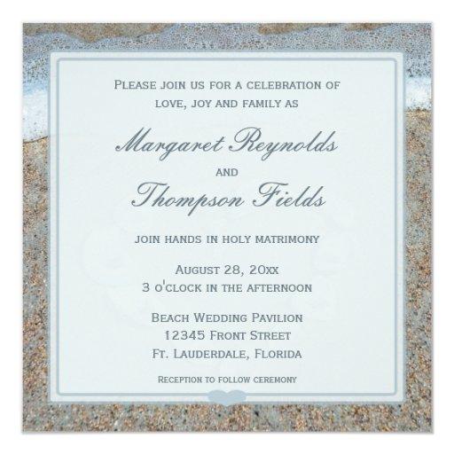Heart of Seashells on the Beach Wedding Invitation
