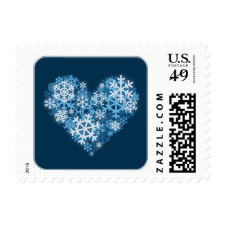 Heart of Snowflakes Blue Holiday square stamps