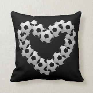Heart of Soccer Ball Euro Futbol on Black Throw Pillow