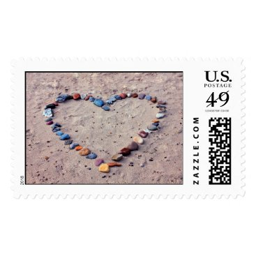 Beach Themed Heart of Stones Postage