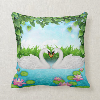 Heart of swans pillows