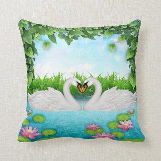 Heart of swans throw pillow