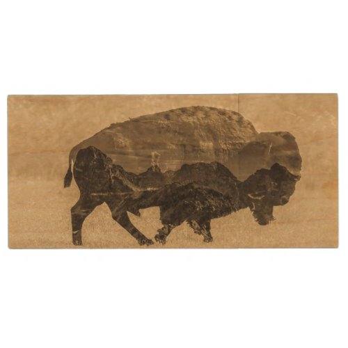 Heart of the Bison Wood Flash Drive