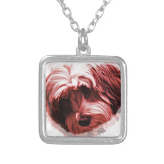 Heart of the Tibetan Terrier Square Pendant Necklace