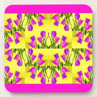 Heart of Tulips Design Drink Coaster