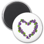 Heart of Violets 2 Inch Round Magnet