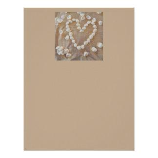 Heart of White Sea Shells, Summer Beach Ocean Love Letterhead