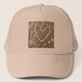 Heart of White Sea Shells, Summer Beach Ocean Love Trucker Hat