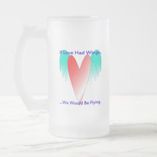 Heart of Wing 16 Oz Frosted Glass Beer Mug