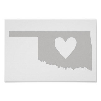 Heart Oklahoma state silhouette Poster