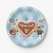 Heart Oktoberfest owls Paper Plate