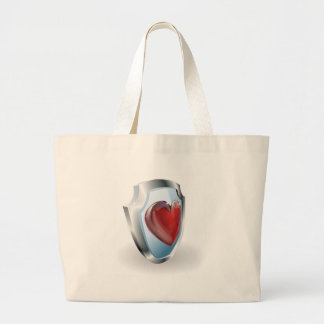Heart on 3D shield icon Bags