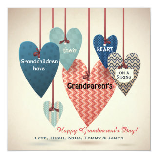 """Heart on a String Grandparents Day Card 5.25"""" Square Invitation Card"""