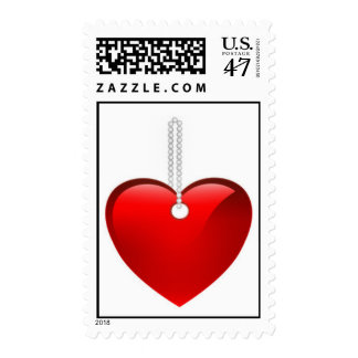 Heart on Chain Postage Stamp