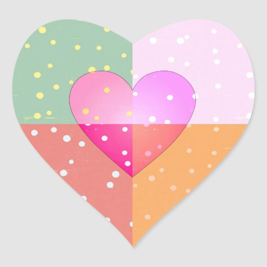 Heart on Dots Love Girly Print Pattern Heart Sticker