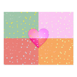 Heart on Dots Love Girly Print Pattern Postcard