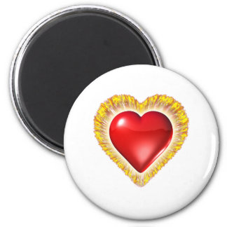 Heart on fire 2 inch round magnet