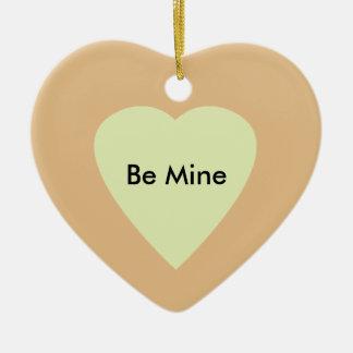 Heart on Heart-Green Ceramic Ornament