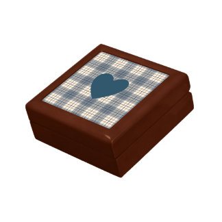 Heart on Plaid Blues Brown Cream Keepsake Box
