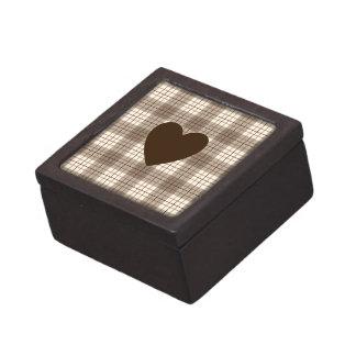 Heart on Plaid Browns & Cream Jewelry Box