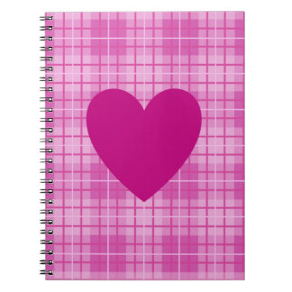 Heart on Plaid Pinks I Spiral Notebook