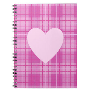 Heart on Plaid Pinks II Spiral Notebook