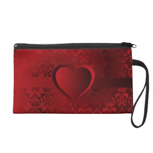 Heart on red daask wristlet