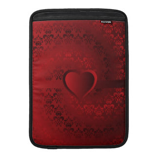 Heart on red damask MacBook air sleeve