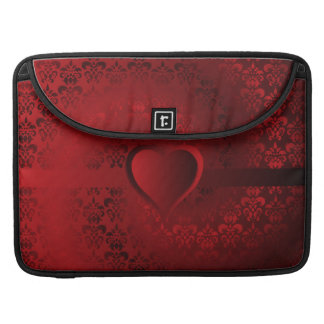 Heart on red damask sleeve for MacBook pro