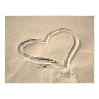 Heart on sand postcard
