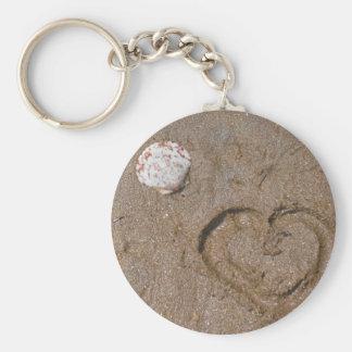 heart on the beach pink shells basic round button keychain