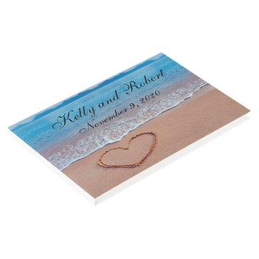 Beach Themed Heart on the Shore Beach Custom Wedding Guest Book