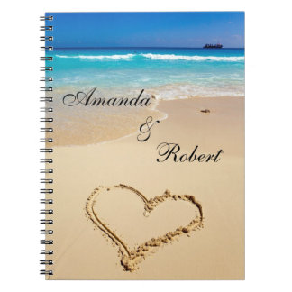 Heart on the Shore Beach Wedding Custom Guest Book