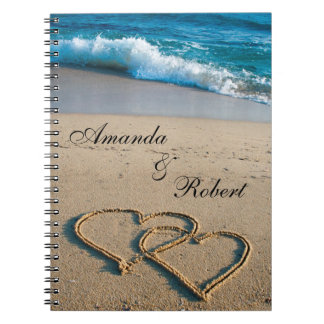 Heart on the Shore Beach Wedding Custom Guest Book Notebook