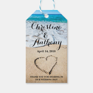 Heart on the Shore Beach Wedding Favor Gift Tags