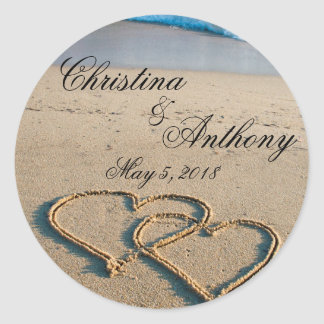 Heart on the Shore Beach Wedding Favors Labels