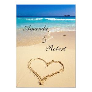 Heart on the Shore Beach Wedding Invitation 5