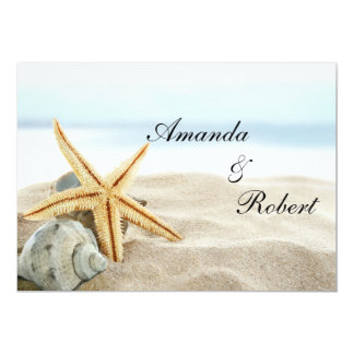 "Heart on the Shore Beach Wedding Invitation 5"" X 7"" Invitation Card"