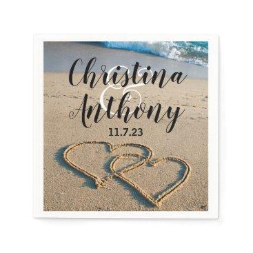 Bride Themed Heart on the Shore Beach Wedding Napkin