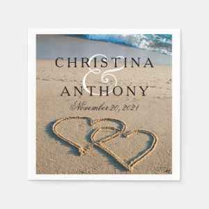 Heart on the Shore Beach Wedding Napkin