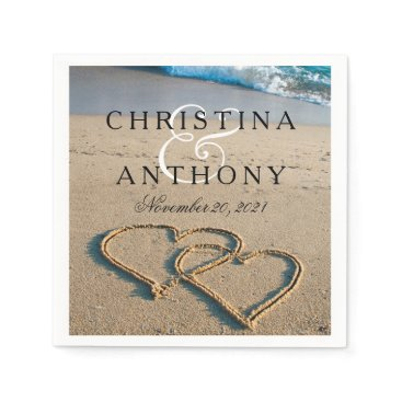 Valentines Themed Heart on the Shore Beach Wedding Napkin